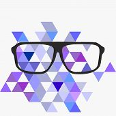 Nerd vector glasses on grey background with triangle flat surface mosaic.