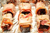 picture of meatloaf  - Cooking Bacon Wrapped Meatloaf in a Foil Lined Pan - JPG
