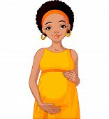 African pregnant woman in yellow pregnant dress is prepared for maternity.