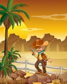Illustration of a gunman standing above the rock near the palm trees