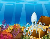 foto of octopus  - Illustration of a treasure box under the sea with an octopus - JPG