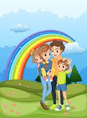 Illustration of a family strolling with a rainbow in the sky