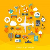 stock photo of dolphins  - Travel flat design illustration - JPG