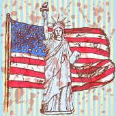 Sketch Usa Flag And Statue Of Liberty, Vector Background