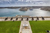 Skyline of the Maltese capital city Valletta. The Saluting Battery of La Valletta and Fort St. Angel