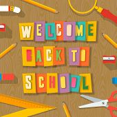 Back to school background - collage paper craft design