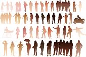 Silhouette of people with all skintones