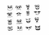 picture of stereotype  - design an images of  Set various emotions people cartoon faces - JPG
