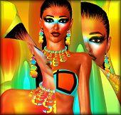 Peel back effect, close up of digital bikini model.
