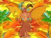 Fantasy Art, Golden Winged Egyptian Goddess.