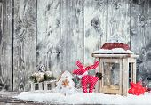picture of caribou  - Christmas still life with lantern - JPG