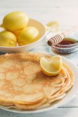 Lemon Pancakes and Bowl of Lemons