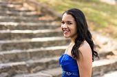 picture of quinceanera  - Teen girl wearing her formal Quinceanera dress - JPG