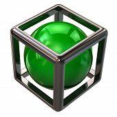 Green sphere in abstract silver cube