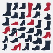 Silhouette Icons Set Of Fashion Shoes
