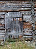 Wooden door in an old cottage