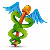 An image of a cartoon caduceus.