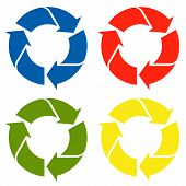 Recycling Sign Colored - Four Colors