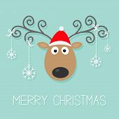 Cute Cartoon Deer With Curly Horns, Red Hat And Hanging Snowflakes. Merry Christmas Background Card