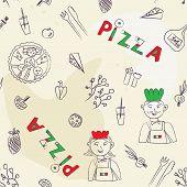 Pizza seamless pattern - hand drawn