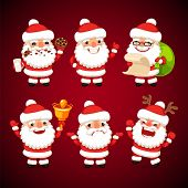 Set Of Cartoon Santa Claus In Various Poses