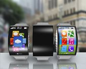 Group Of Curved Screen Smartwatch With Steel Watchstrap