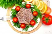 Aspic from meat with lemon, mustard