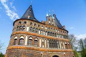 The Holsten Gate (holstentor) In Lubeck Old Town, Schleswig-holstein, Germany