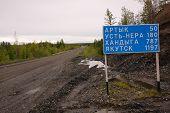 Road Sign At Gravel Road Kolyma To Magadan Highway Yakutia
