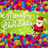 Merry Christmas greeting card with place for your text, and hand written lettering, Santa Claus. Vec