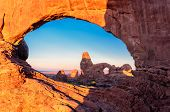 image of turret arch  - Window Arch view of the rock, Turret Arch in Arches National Park, Utah, USA