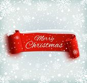 Merry Christmas celebration background with red realistic ribbon banner and snow