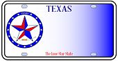 picture of texas star  - Texas License Plate in red white and blue with Lone Star State text over a white background - JPG