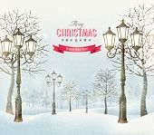 Christmas landscape with vintage lampposts. Vector.