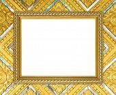 Golden Frame On Thai Style Buddha Wall Background