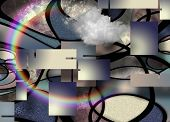 3 Dimensional Abstract with Cloud and Rainbow