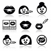 image of plumper  - Filling the lips vector icons set isolated on white - JPG