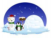 foto of north-pole  - a north pole with a polar bear and a penguin - JPG