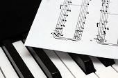 Music Paper Sheet Lying On Th Piano Keys