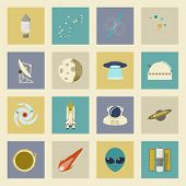 Astronautics And Space Flat Icons Set