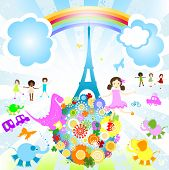 kids and animals of the world; summer vacation in Paris