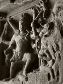stock photo of ellora  - detail at the Ellora Caves in the state Maharashtra located in India - JPG