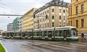 Modern Tram On A Street Of Augsburg - Germany, Bavaria
