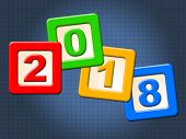 Twenty Eighteen Blocks Represents Happy New Year And Kids