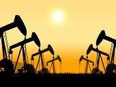 stock photo of nonrenewable  - Oil Wells Showing Oilwell Nonrenewable And Petroleum - JPG