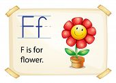 Literacy card showing the letter F