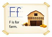 Farm flashcard poster with letters