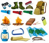 Camping objects and equipment on white