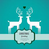 illustration of two deer on Christmas greeting card
