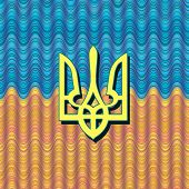 image of trident  - Ukrainian trident on a blue and yellow national flag - JPG